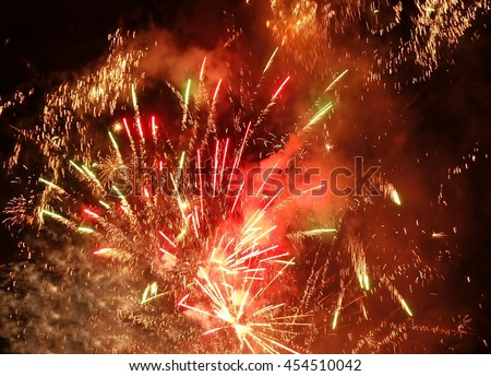 Colorful fireworks and firecrackers at a local celebration