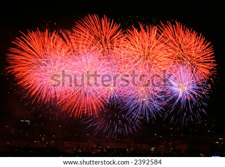 Colorful fireworks display. - stock photo