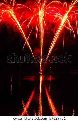 Colorful fireworks display for celebrations and joyous occasions - stock photo