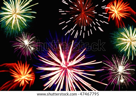 Colorful fireworks in a black sky