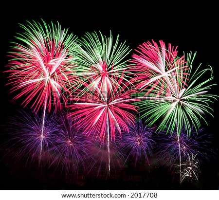 Colorful fireworks on display. Shot on tripod with cable release. - stock photo