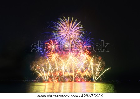 Colorful fireworks on the black sky background, fireworks background, fire works, fireworks celebration, fireworks night. - stock photo