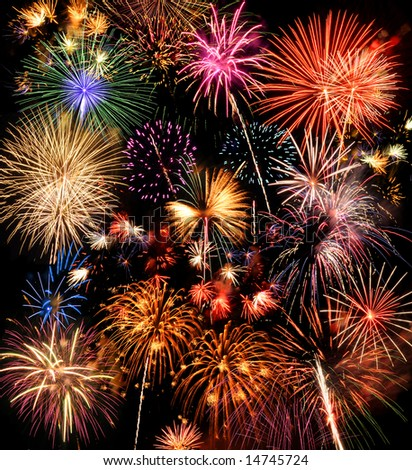 Colorful fireworks over a night sky - EXTRA LARGE SIZE - stock photo