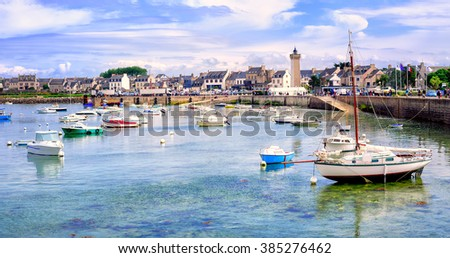 Colorful fisherman's boats in the harbour of Roscoff, northern Brittany, France - stock photo