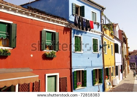 Colorful fishermen houses in Burano in the lagoon of Venice in Italy
