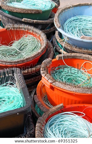 Colorful Fishermen ropes for line fishing - stock photo