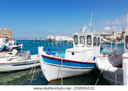 colorful fishing  boats in old port of Heraklion, Crete, Greece - stock photo