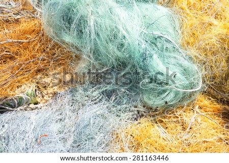 Colorful fishing nets - stock photo