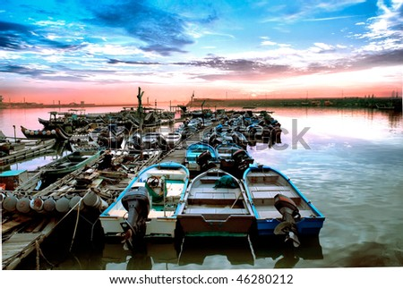 colorful fishing port
