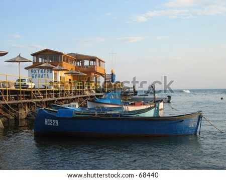 Colorful fishingboats in Nessebar, Bulgaria. - stock photo