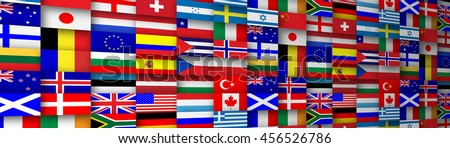Colorful flags of the world banner header illustration - stock photo