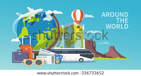 Colorful flat travel banner. Quality design illustrations, elements and concept. Advertising banner. Around the world.