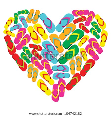 Colorful flip flops in heart shape isolated over white background. - stock photo