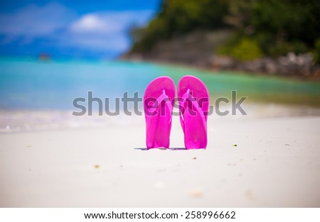 Colorful flipflop pair on sea beach - stock photo