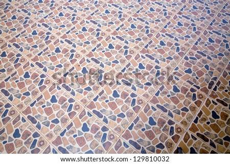 Colorful floor tiles. - stock photo