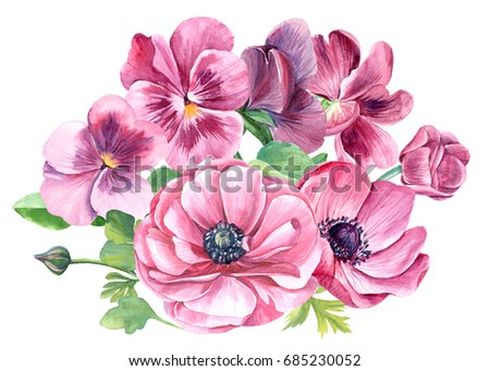 Colorful floral bouquet pink pansy anemones stock illustration colorful floral bouquet of pink pansy and anemones flowers isolated on white background mightylinksfo