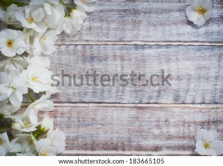 Colorful Floral Frame On Rustic Wooden Background Spring Or Summer