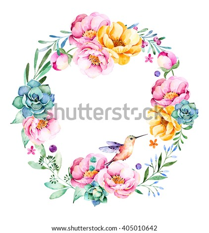 Colorful floral wreath with roses,flowers,leaves,succulent plant,branches,hummingbird and more.Lovely Bouquet collection.Perfect for wedding,frame,quotes,pattern,greeting card and more - stock photo