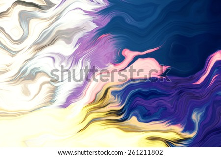 Colorful flow of paint in water illustration - stock photo