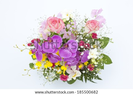 Colorful flower arrangement on white background