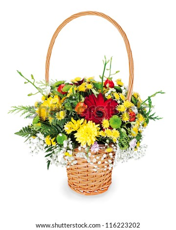 colorful flower bouquet arrangement centerpiece in a wicker gift basket isolated on white background - stock photo
