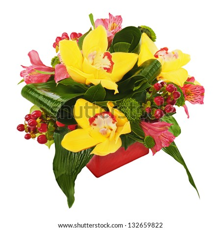 Colorful flower bouquet from orchids and lilies arrangement centerpiece in red vase isolated on white background. - stock photo