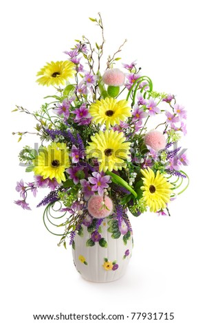 Colorful flower bouquet in vase isolated on white. - stock photo