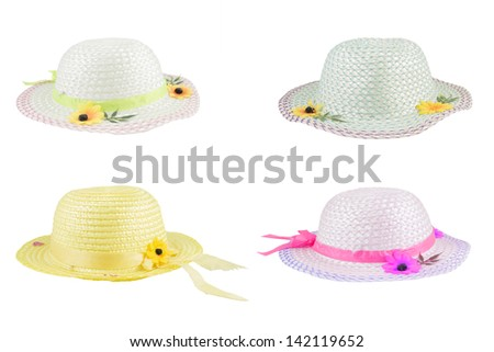 colorful flower hats on white background. - stock photo