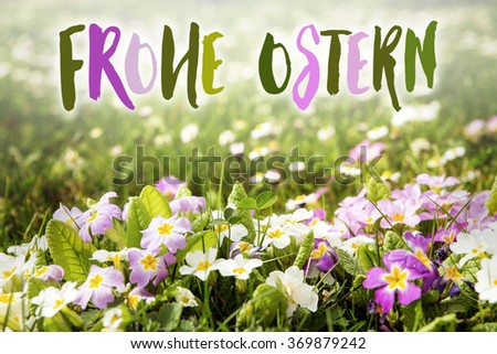 colorful flower meadow with german words frohe Ostern, which means happy easter - stock photo
