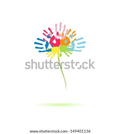 Colorful flower of the handprints of parents and children - stock photo