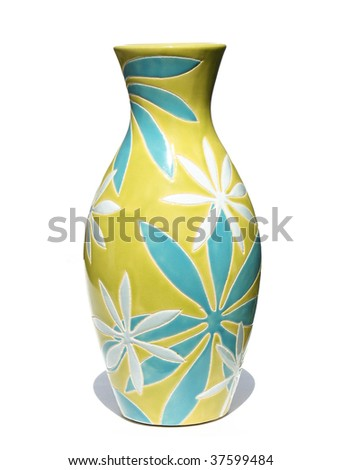 Colorful flower vase - stock photo