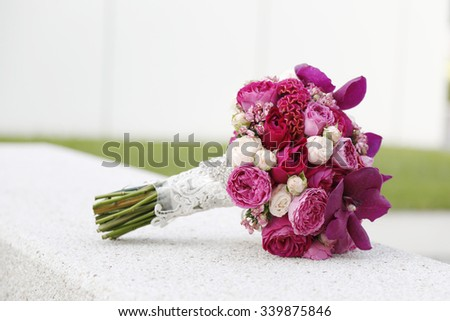 colorful flower wedding bouquet for bride - stock photo