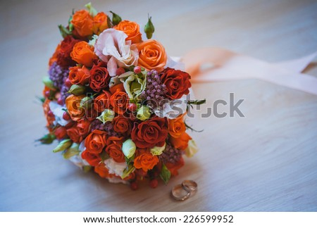 colorful flower wedding bouquet for bride on white background - stock photo