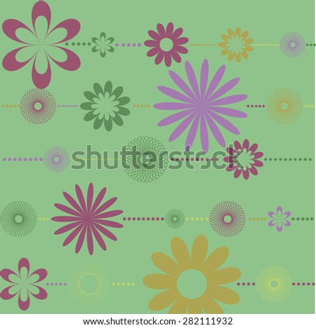 colorful flowers, beads , spiral circles arranged horizontally on a green background - stock photo