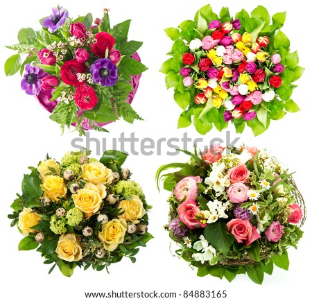 colorful flowers bouquet. roses. tulips. birthday, easter, Mothers day, valentines day, greetings, congratulations. MORE BLOOMS IN MY PORTFOLIO - stock photo