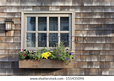 Colorful flowers growing in a window box with a wood shingle wall background.