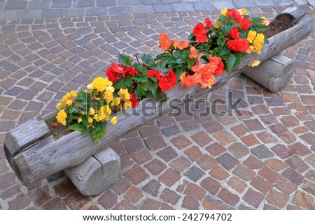 Colorful flowers in wooden pot decorate the sidewalk - stock photo