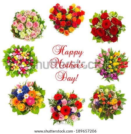 colorful flowers isolated on white background with sample text Happy Mother's Day! Congratulations. Greetings card concept - stock photo
