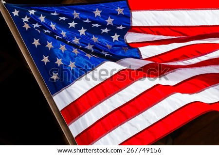 Colorful flowing American Flag
