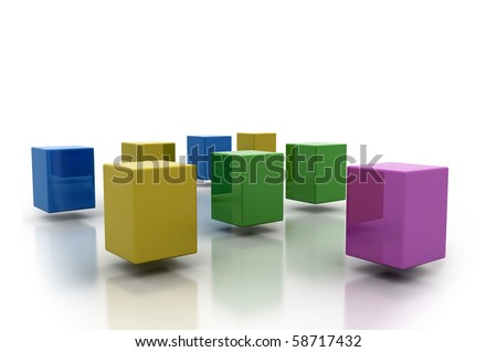 Colorful flying cubes