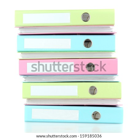 Colorful folders, isolated on white - stock photo