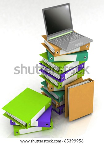 Colorful folders next to a modern laptop - stock photo