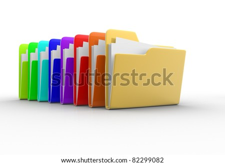 Colorful folders with paper. 3d render illustration - stock photo
