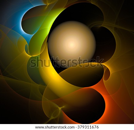 Colorful fractal curves around the glowing ball. - stock photo