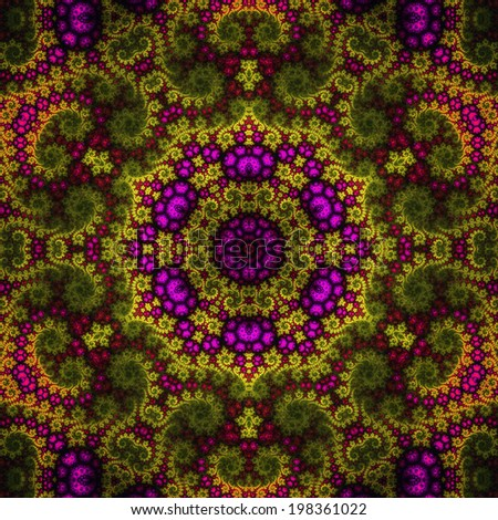 Colorful fractal kaleidoscope, digital artwork for creative graphic design - stock photo