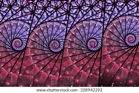 Colorful fractal stained glass swirly pattern, digital artwork for creative graphic design