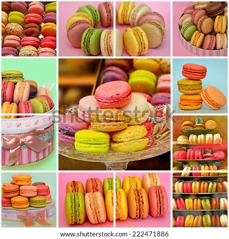 Colorful french macaroons. Collage of photos of traditional Parisian cookie - stock photo