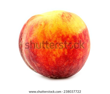 Colorful, fresh and juicy orange peach isolated on white background in studio - stock photo