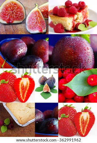 colorful fruit collage with cake - stock photo