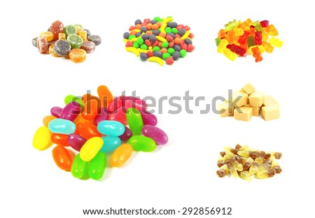 Colorful Fruit Flavored Candy Isolated Background Art - stock photo